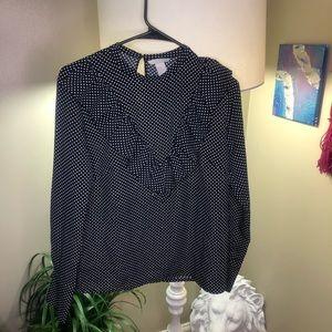 Long sleeve black polka-dot blouse with ruffles